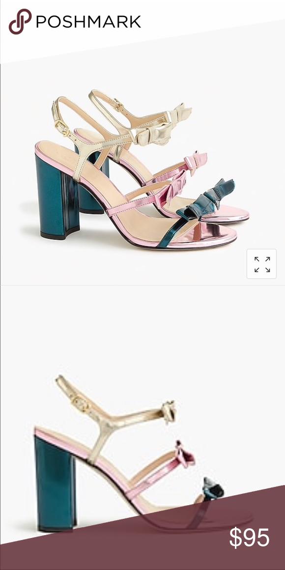 5ee4f3f8dbf Stella Bow Heels in Metallic Emerald Dainty bow-embellished straps 4 inch ( 100MM)