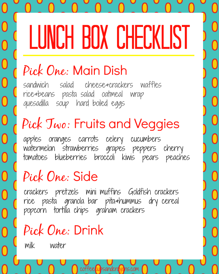 Teach Kids to Pack Healthy School Lunches | Coffee Cups and Crayons