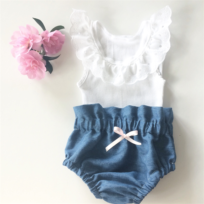 86abcc7cb High Waisted Denim Bloomers and White lace tank - baby, girl, summer ...