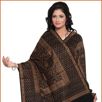 Black and Brown Cashmilon and Woolen Shawl