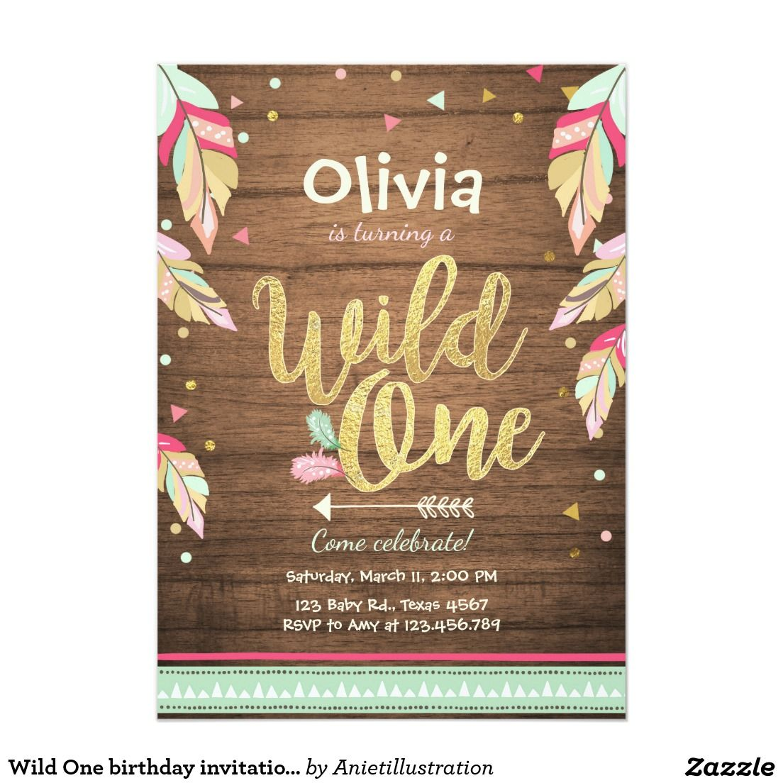 Wild One birthday invitation First birthday Girl | Pinterest ...