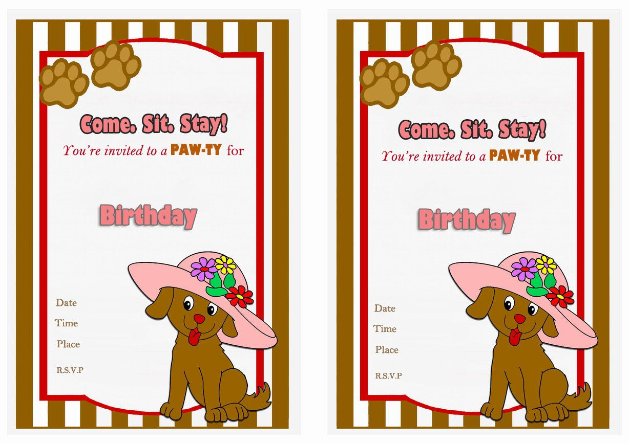 Dog Lovers Free Printable Birthday Party Invitations Birthday Party Invitations