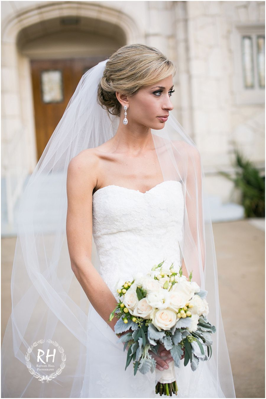 Strapless wedding gown with mid-length veil | Bride\'s Style ...