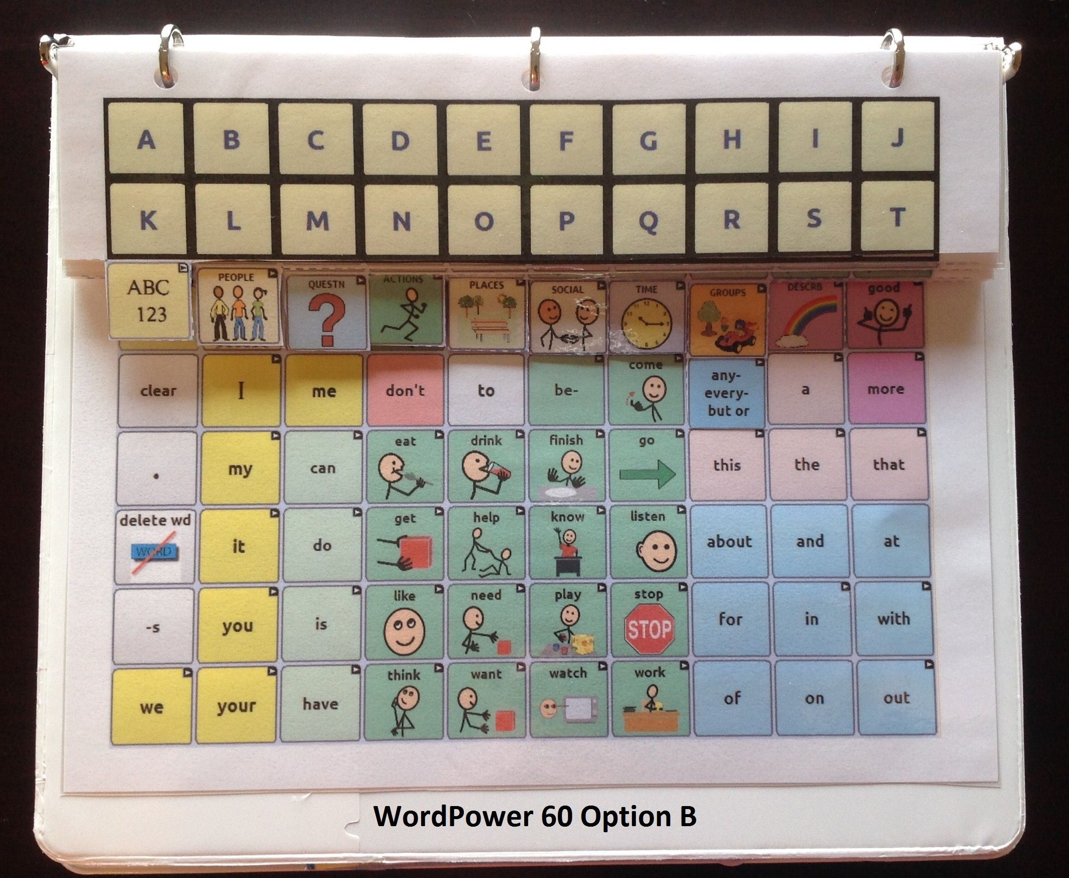 Low-tech Communication Board for WordPower 42 and 60