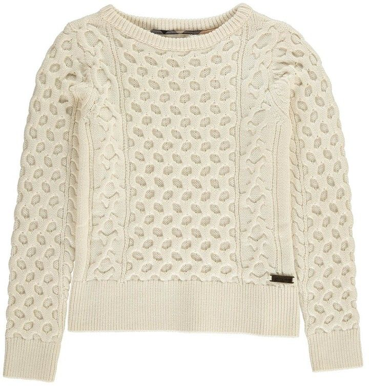 Cable Knit Pullover Available Colors: White Available Sizes: 12 years DETAILS Fabrics : Knitted cotton, Cashmere Details : Round Neck, Long sleeves Composition : 92% Cotton, 8% Cashmire