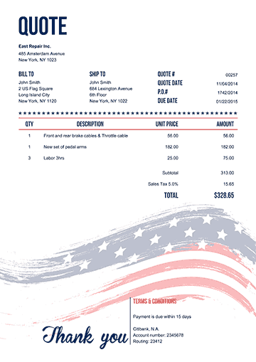 Us Flag Invoice Template Word Invoice Template Free Receipt Template