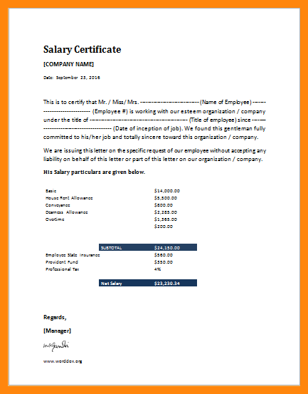 Image result for salary certificate sample letter pdf for Earnings disclaimer template