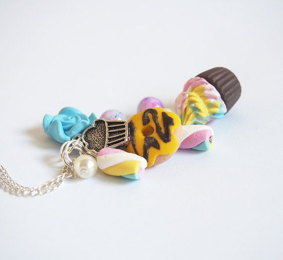 Food Necklace Cute Necklace  food pendant polymer clay food