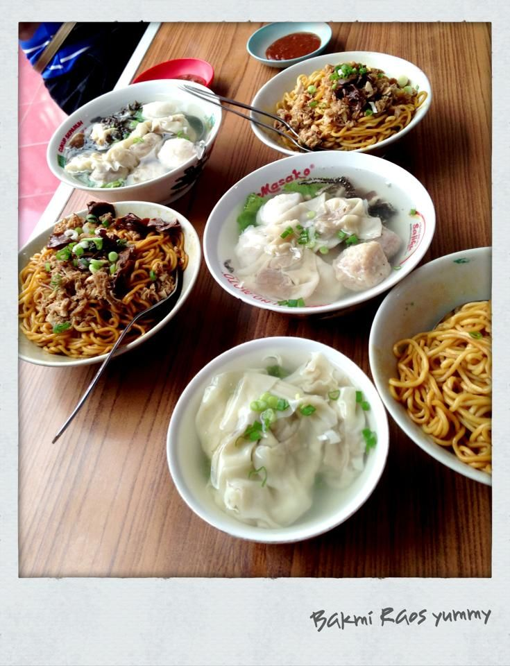 Mie Raos Food Stall In Bandung West Java Indonesia Mie Yamin Manis Pangsit Kuah And Mie Yamin Manis Special Indonesian Sweet Soy Sau Pangsit Indonesia Nasi