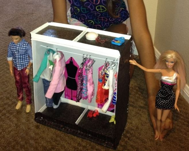 Make A DIY Barbie Closet Out Of A Shoebox, Wire Hanger And Small Department  Store