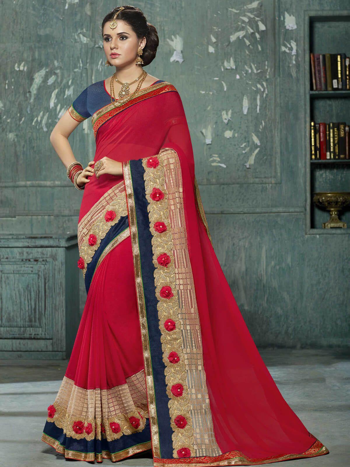 50014bf867ab74 Gracious red and blue chiffon party wear designer saree. Having fabric  chiffon, brasso,