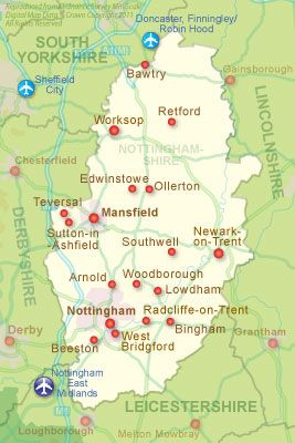 Map of Nottinghamshire UK Cartography Pinterest Holiday