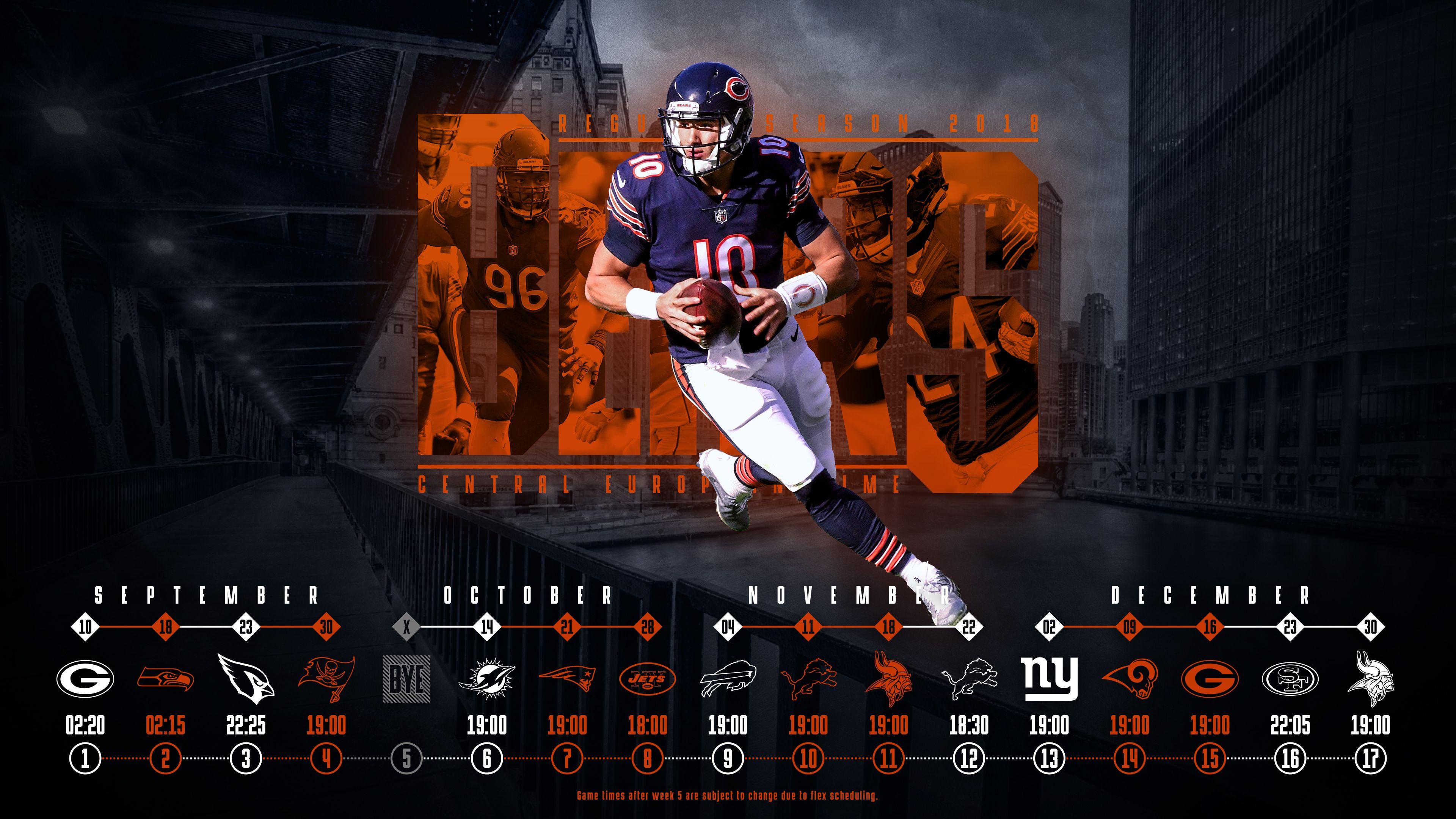 Schedule wallpaper for the Chicago Bears Regular Season