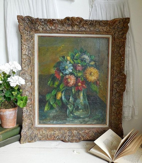 23 Stunningly Beautiful Decor Ideas For The Most: RESERVED FOR LOUISE Beautiful Vintage Oil Painting