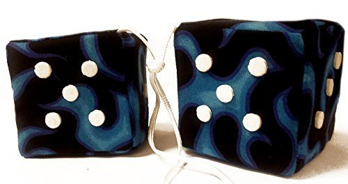 "Cool & Custom {3"" Inch w/ String} Single Pair of ""Fuzzy, Furry & Fluffy Plush Dice"" Rear View Mirror Hanging Ornament Decoration w/ Realistic Flames Design [Charger Black, Blue & White Color] mySimple Products http://www.amazon.com/dp/B016PG9KJ4/ref=cm_sw_r_pi_dp_bctRwb0N1TQVQ"