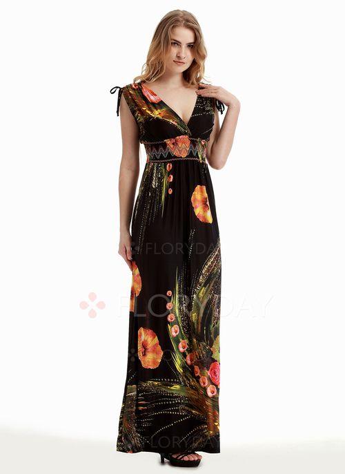 Lässige Kleidung Ärmellos Blumen Maxi Kleider | Lässig kleidung ...