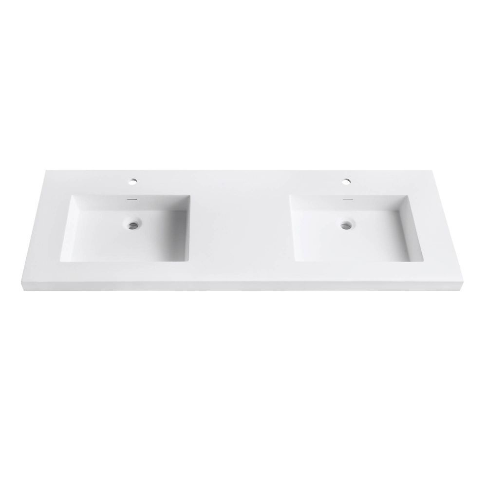 Versastone 61 Inch W Solid Vanity Top In Matte White With 22 Inch