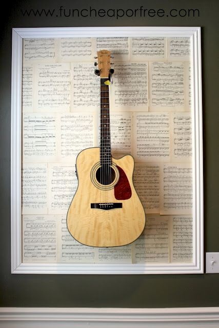 Super cool way to display your musical instruments and still be able to use them. The entire project (two framed guitars) only cost a few bucks.