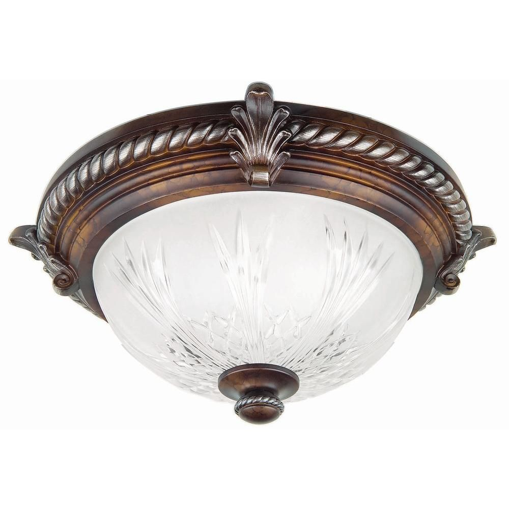 Hampton Bay Bercello Estates 2 Light Volterra Bronze Flush Mount 08058 The Home Depot
