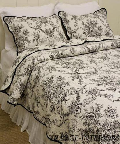 Floral Toile De Jouy Black White French Country King Quilt Shams Set Cotton Shabby Chic Bedrooms French Country Bedrooms White Bedding