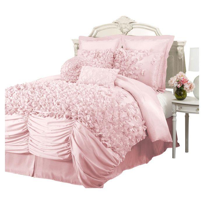 4 Piece Nathalie King Comforter Set In Pink King Comforter Sets