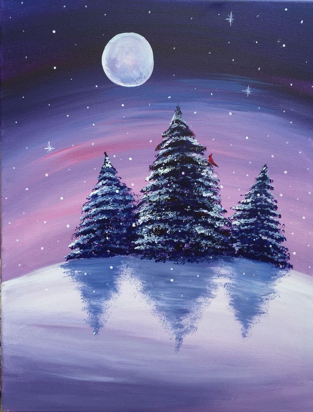 Image result for paint night winter scene Christmas