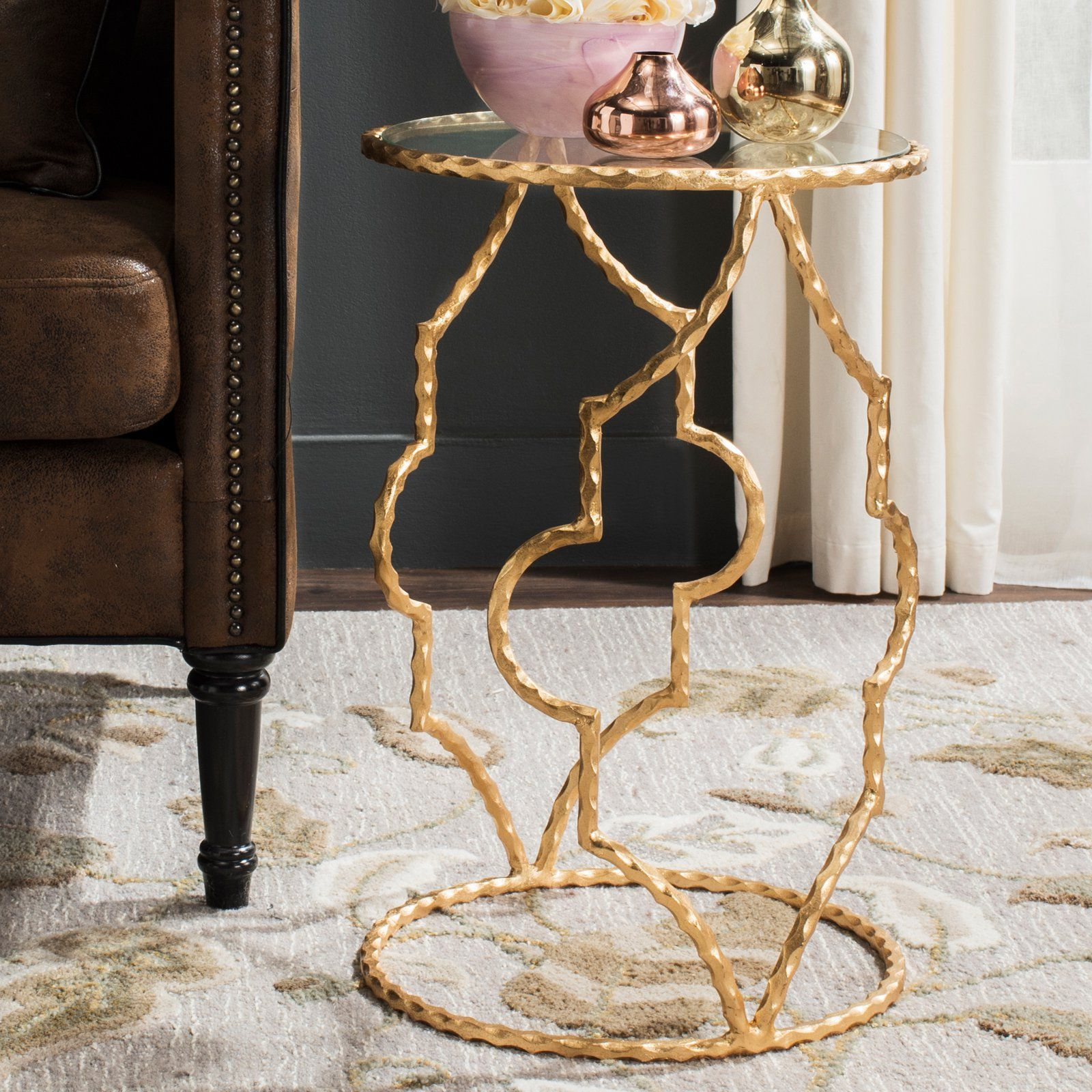 Safavieh Ira Round Gold Leaf End Table | from hayneedle.com