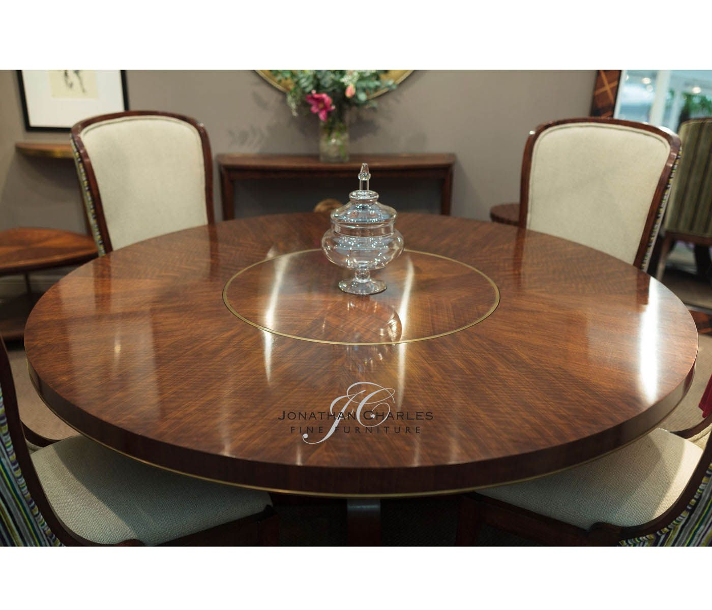 Hyedua circular dining table by Jonathan Charles Fine Furniture