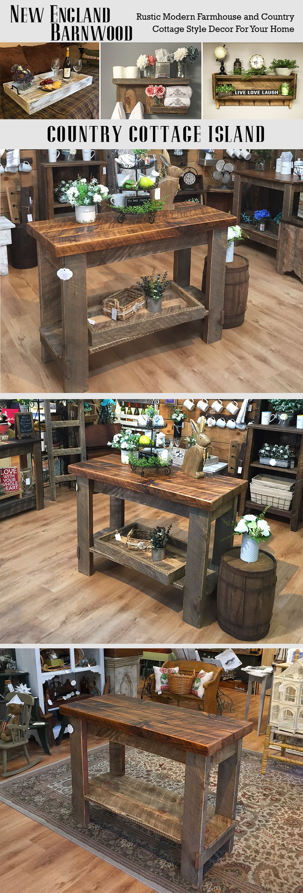This farmhouse kitchen island is adorablevery rustic and primitive
