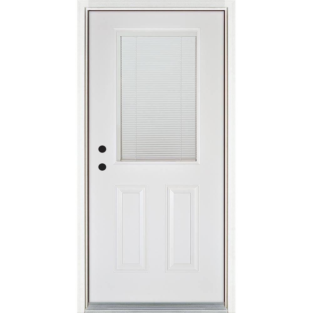 Mp Doors 36 In X 80 In Low E Blinds Between Glass White Left Hand Inswing 1 2 Lite Clear Fiberglass Prehung Front Door N3068l23be224 The Home Depot In 2020 Fiberglass Entry Doors Fiberglass