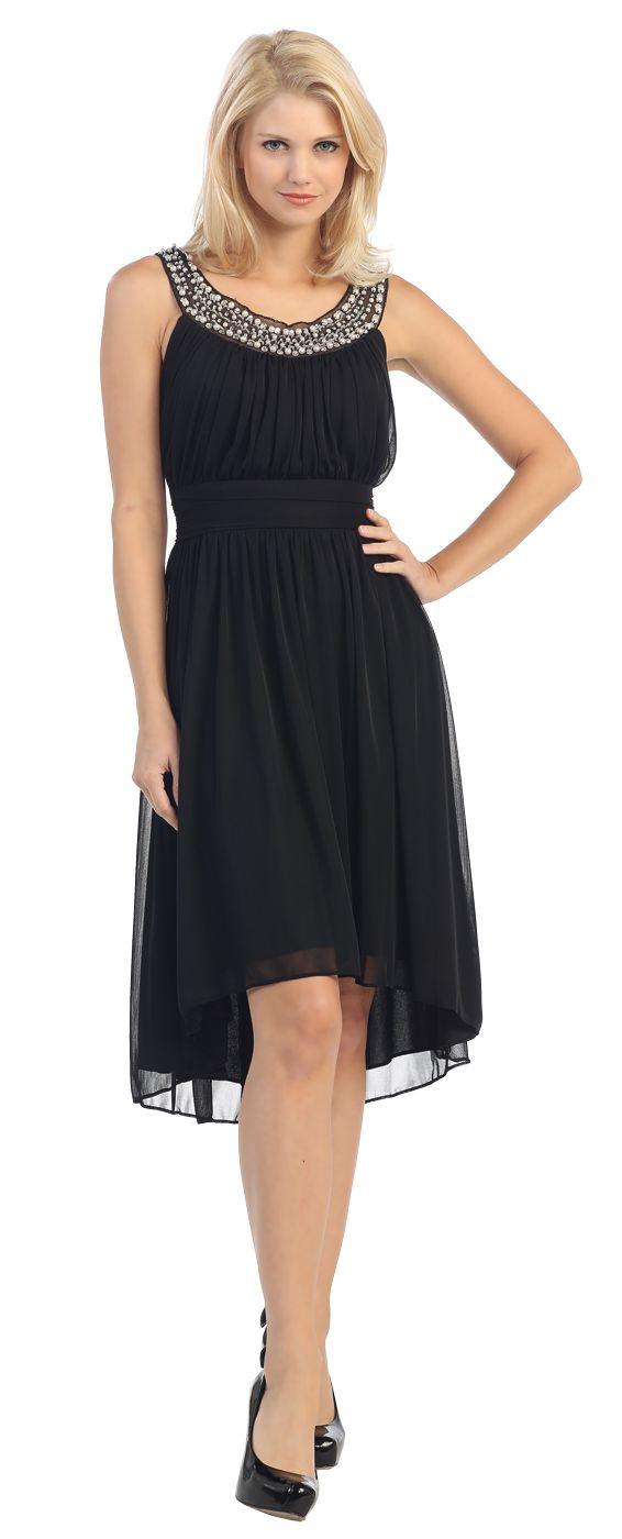 Knee Length Studded Neck Short Black Dinner Party Dress