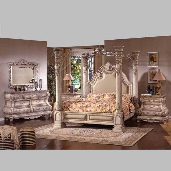 Royal French Bombay Queen Bedroom Group Antique Cream Luxury