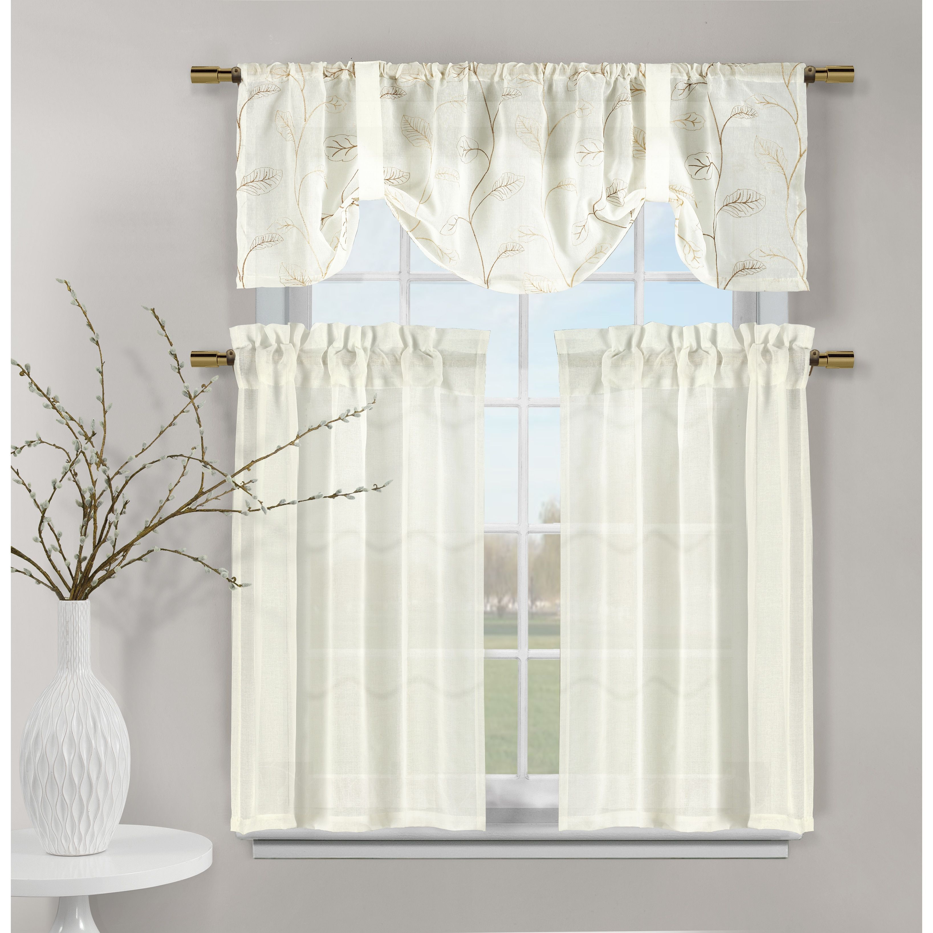 Duck River Videira Leaf Embossed Kitchen Curtain Tier (Gold ...
