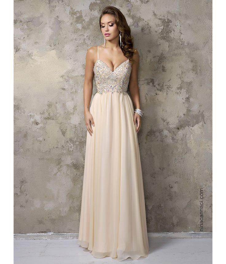 Champagne Chiffon V Neck Embellished Long Prom Dress Wedding