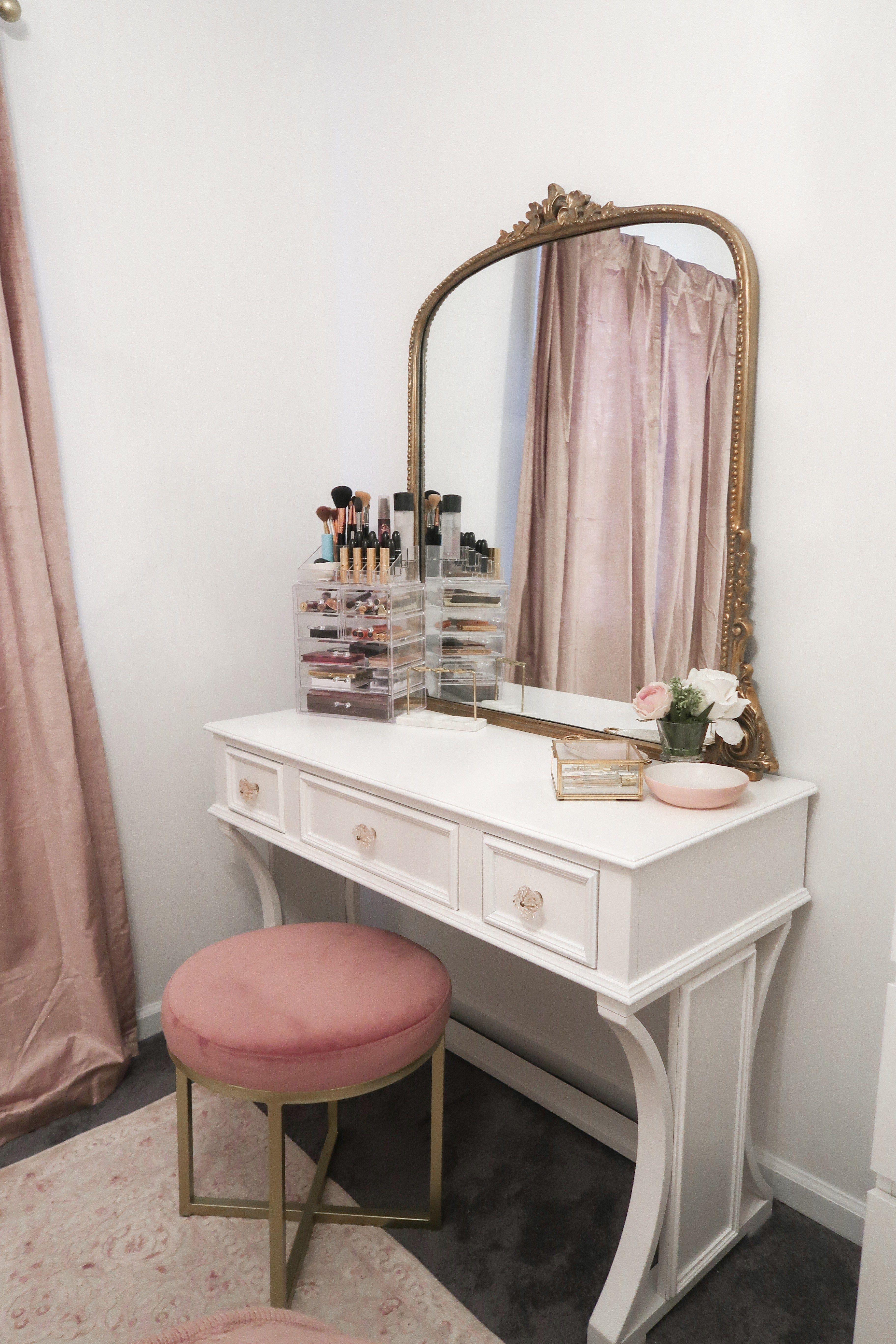 Vanity Tour + Decor | Darling Home Decor | White bedroom vanity ...