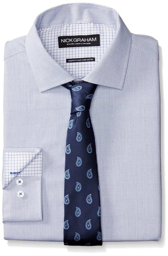 ab3bac38ee Nick Graham Men s Micro Check Cotton Poplin Dress Shirt with Tie at Amazon  Men s Clothing store