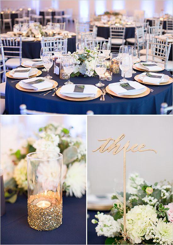 White Gold And Navy Glam Wedding