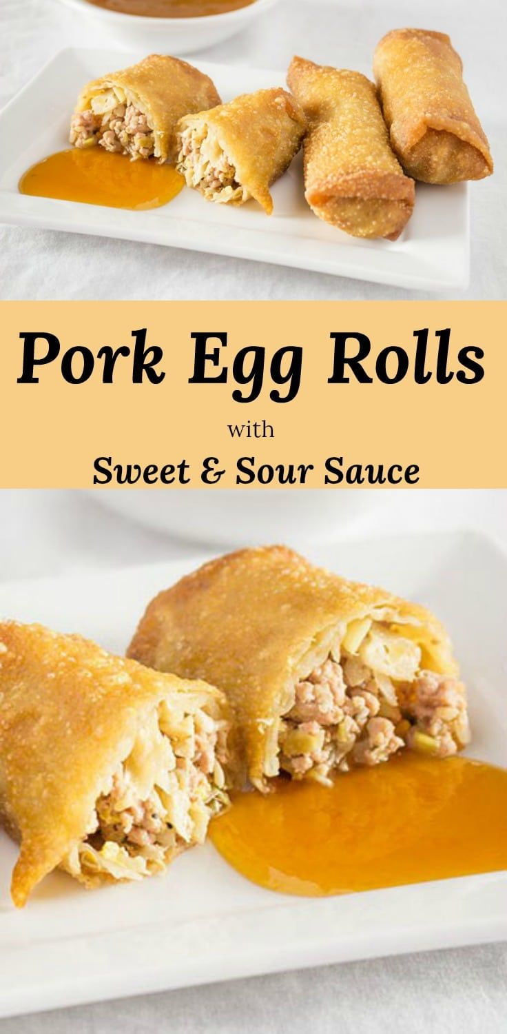 Pork Filled Egg Roll with a hint of Peanut Butter #recipes #egg-roll #Chinese #sauce via @peartreechefs #eggrolls