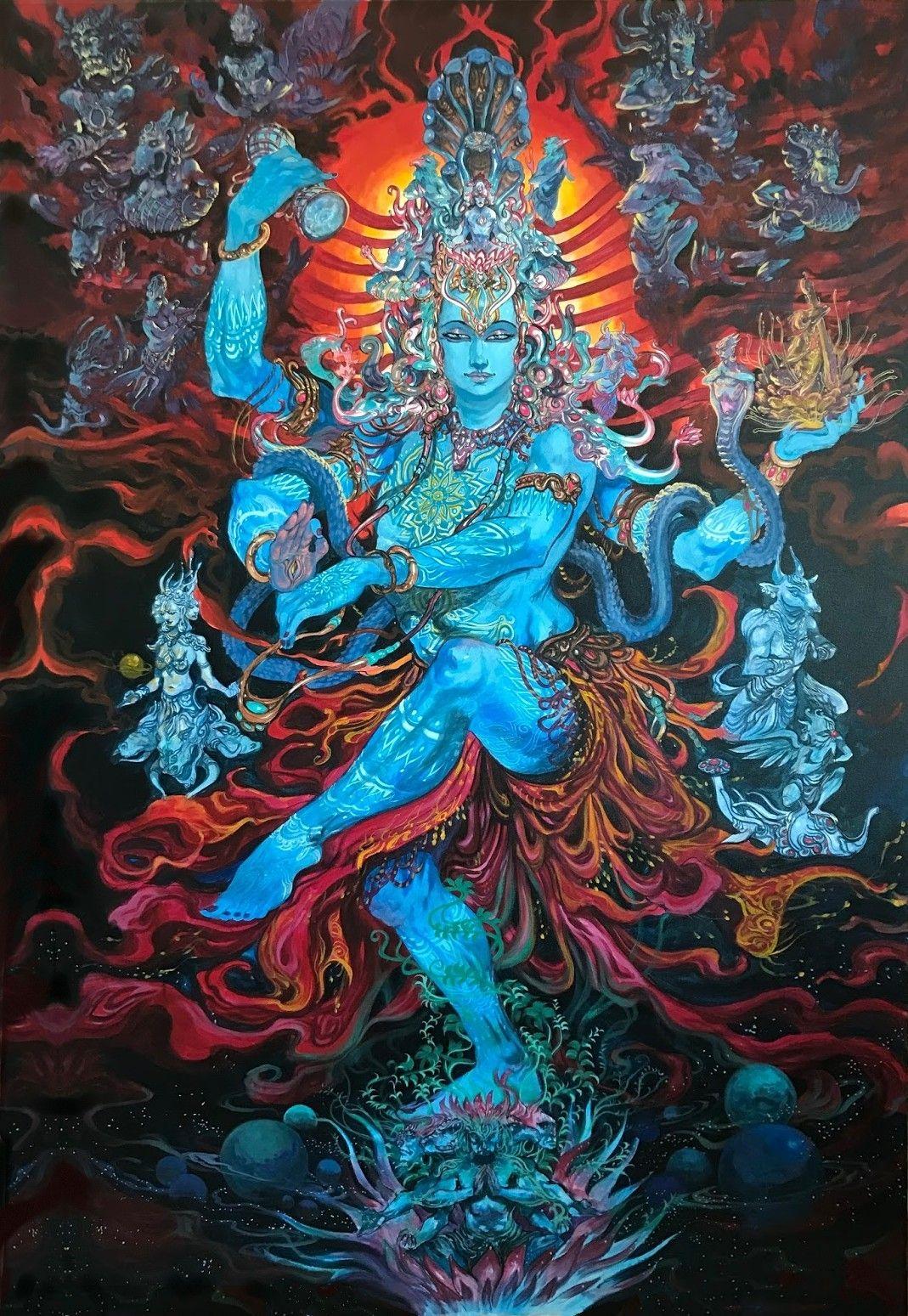 Lord Shiva As Nataraj In Creative Art Painting Lord Shiva
