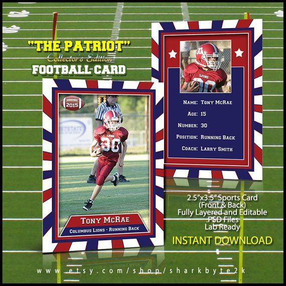 2017 football sports trader card template for photoshop the patriot