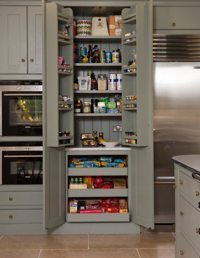Kitchen Pantry Cabinet Shallow Shelves On Top Complemented By The Inside Of Doors