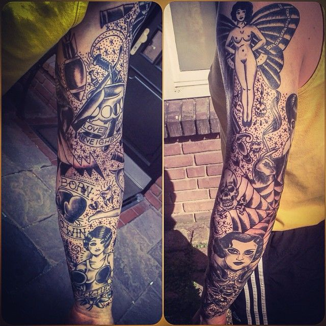 #mulpix Black & Grey traditional sleeve I've done, mainly ...