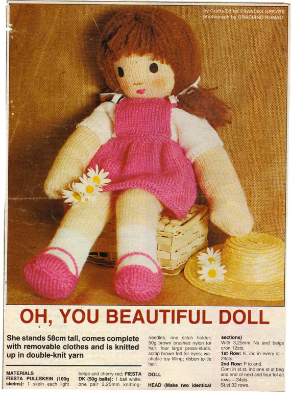 Vintage Beautiful Toy Rag Doll Complete With Clothes Knitting