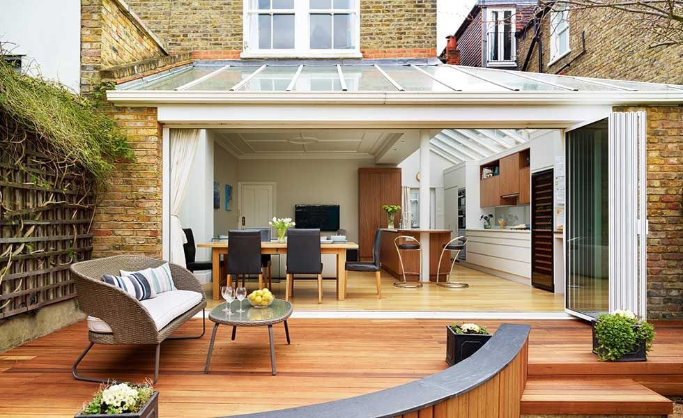 Kitchen Diner Extension With Raised Decking Outside Kitchen In