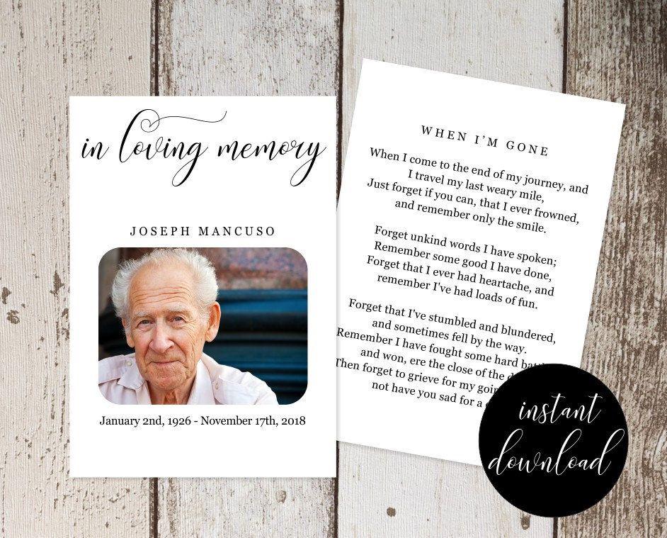 Funeral Prayer Card Template - Printable Memorial Service, Memoriam ...