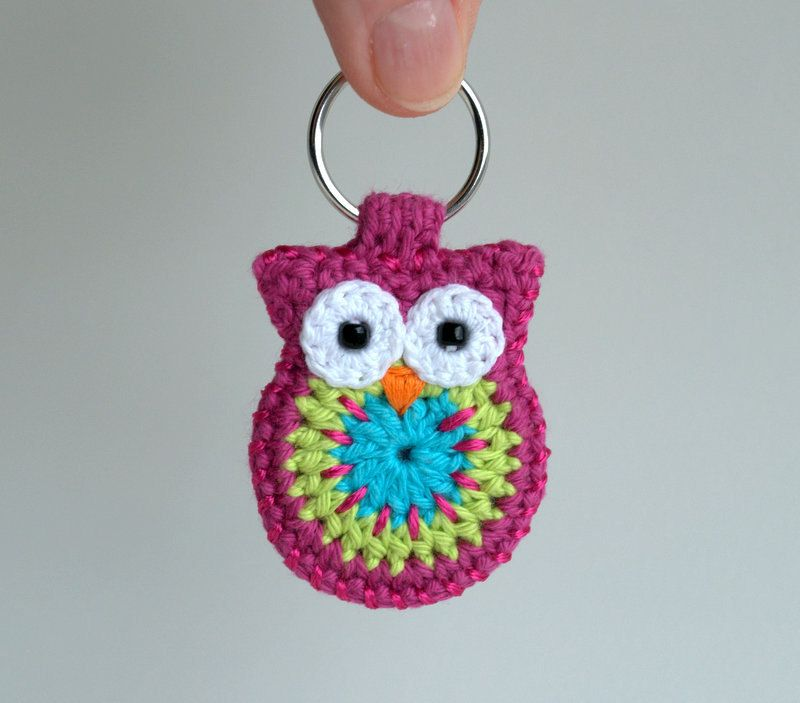 Crochet owl keychain, owl keychain, pink crochet owl. $18.00, via ...