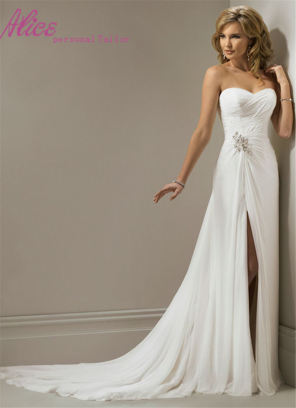 Bridal gowns for beach weddings  Find More Wedding Dresses Information about Floor Length Chiffon