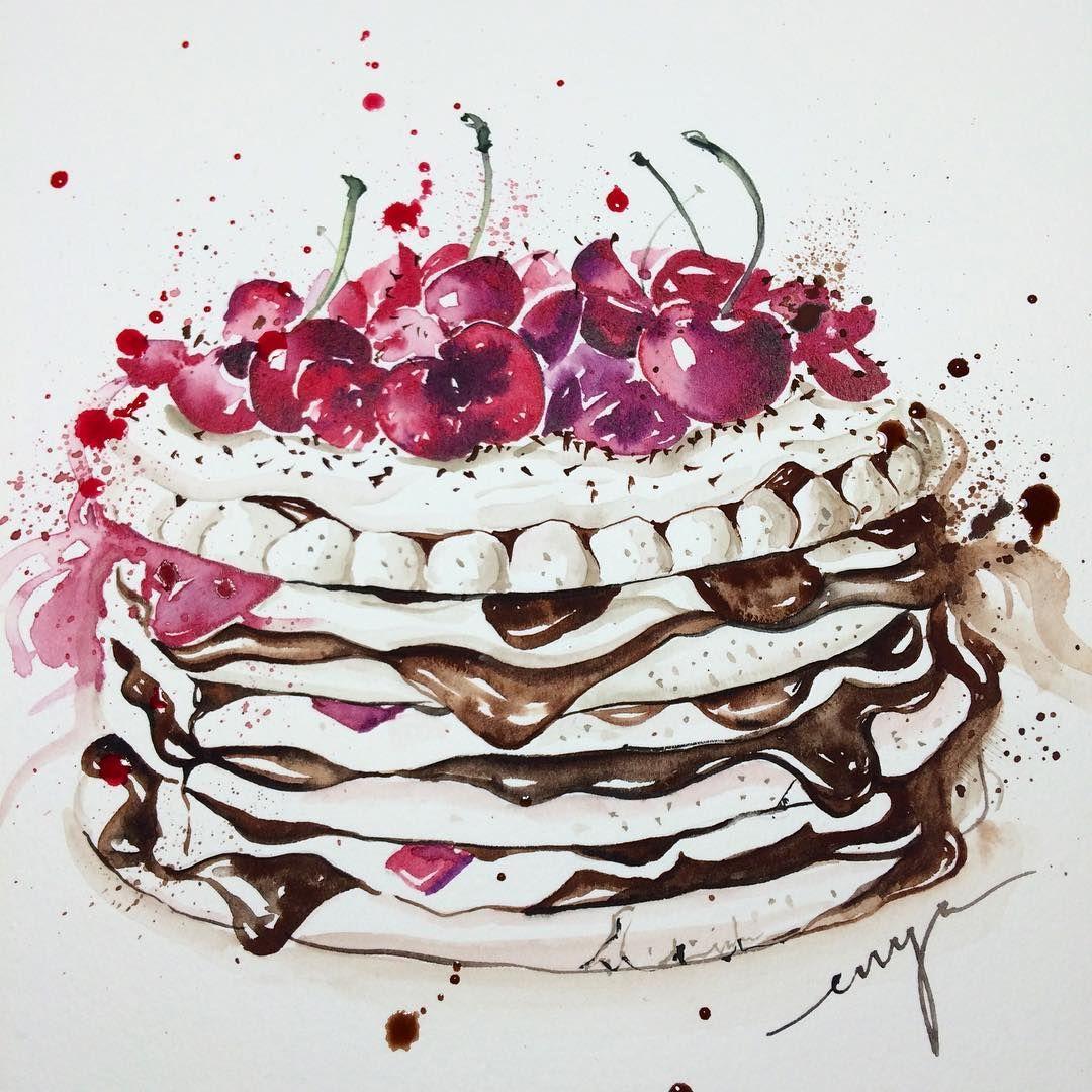 цветки торт рисунок акварелью двухцветное