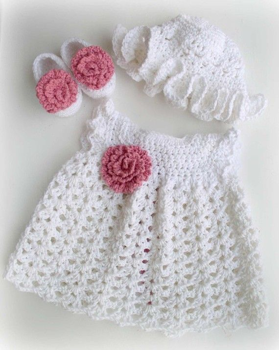 Newborn Baby Girl Dress in Cotton, Shoes and Sunhat set in White and ...