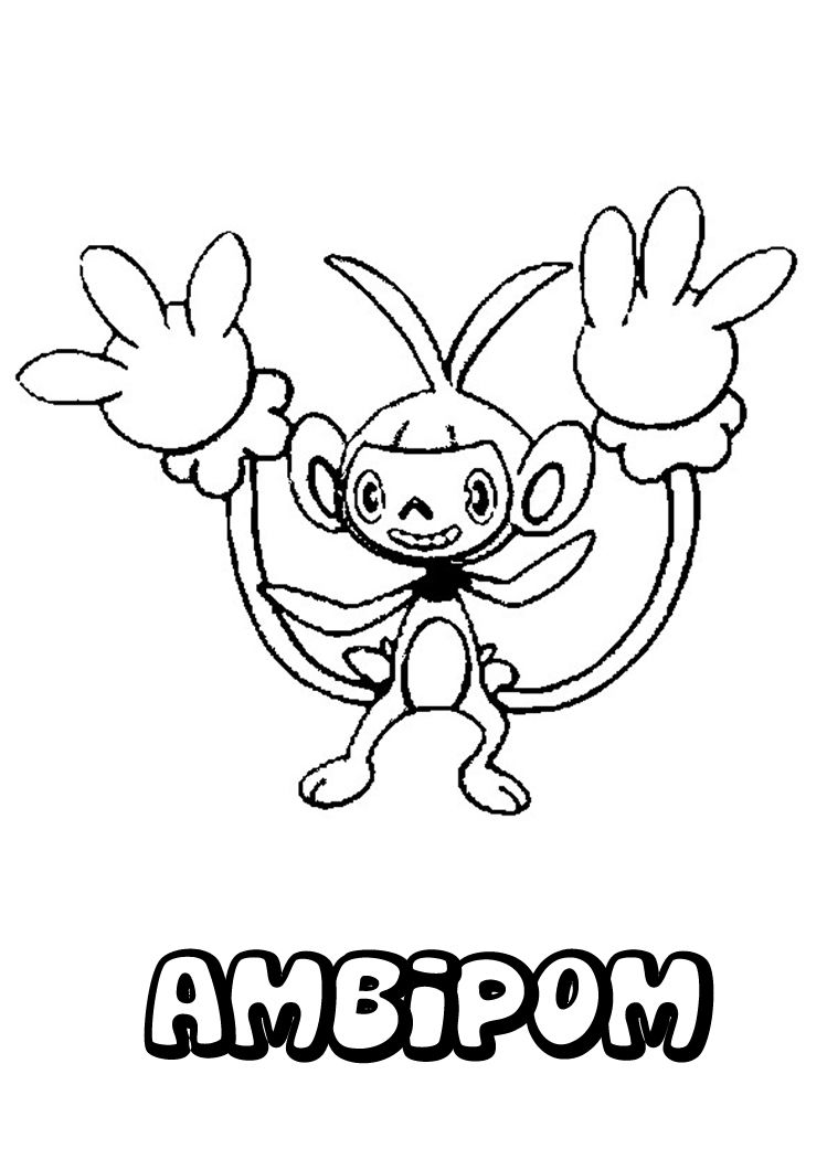 Ambipom Pokemon Coloring Page Free NORMAL POKEMON Pages Available For Printing Or Online You Can Print Out And Color This